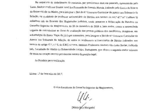 Substituição de membro do júri do 6.º CCATR