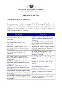 miniatura de DESPACHO 3_2017 – Nomeação Avaliadores_Avaliados