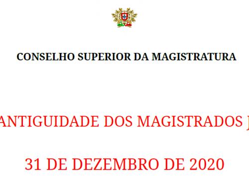 Lista de Antiguidade dos Magistrados Judiciais – 2020